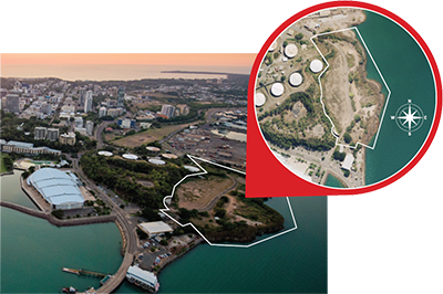 Aerial view of Darwin city showing cut-out of proposed water theme park location