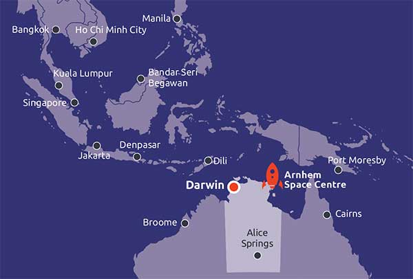 Map of Asia showing the Northern Territory and Arnhem Space Centre in relation to the rest of Asia.