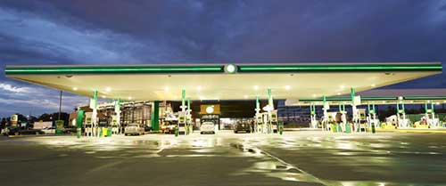 BP service station at night