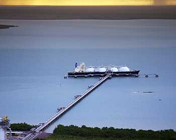 LNG ship in harbour