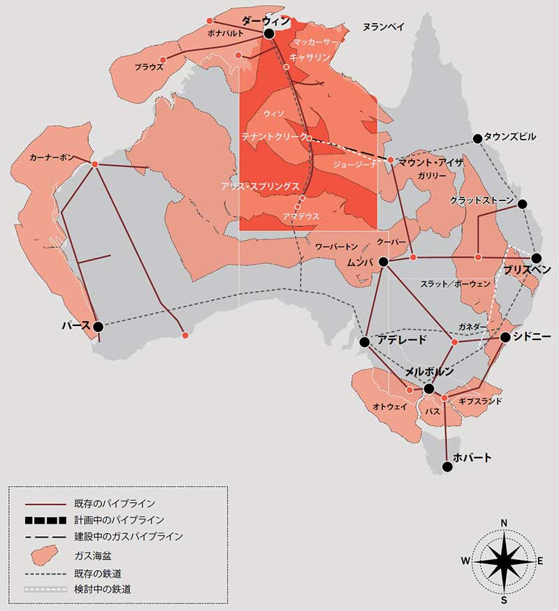 Map of Australia with the Northern Territory highlighted showing regions of gas basins; existing pipelines; indicative pipeline routes; gas pipeline under construction; existing rail; and potential rail.