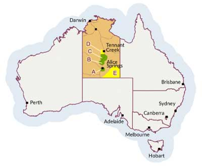 Map of Northern Territory showing location of the five plant industry precincts.