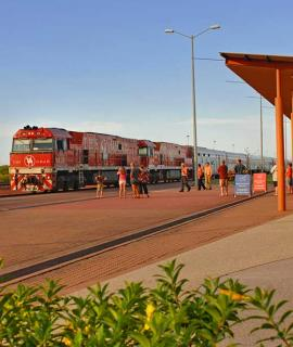 The Ghan train at railway station