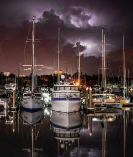 Boats in Cullen Bay Marine during lightening storm