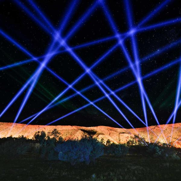 Festival of Lights - blue laser lights over Uluru
