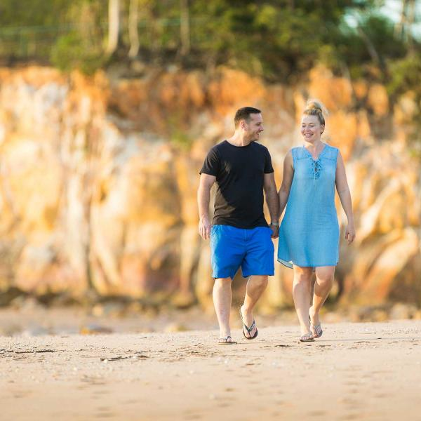 Couple walking on a beach