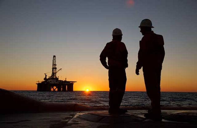 Offshore installation at sunset