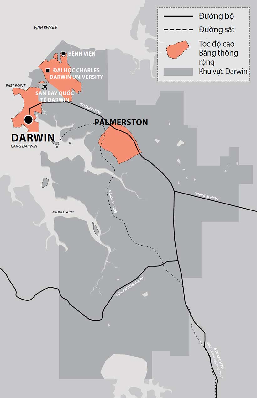 Map of the Northern Territory highlighting Darwin region, Darwin, Palmerston, high speed broadbank area, and the road and rail networks.