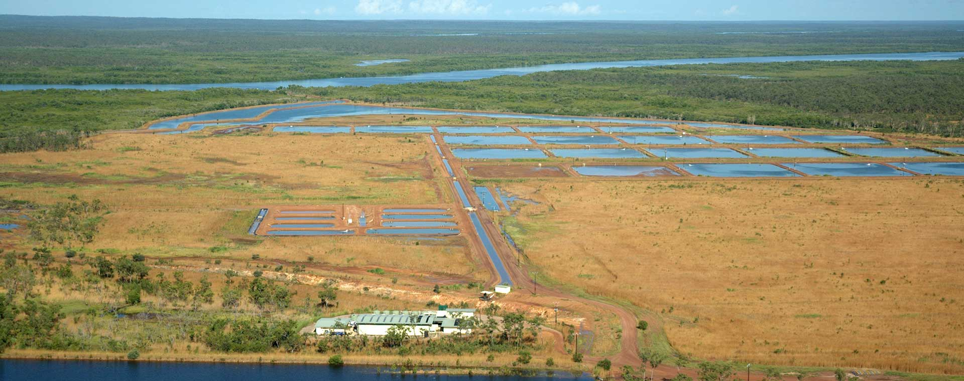 Aerial view of a fish farm