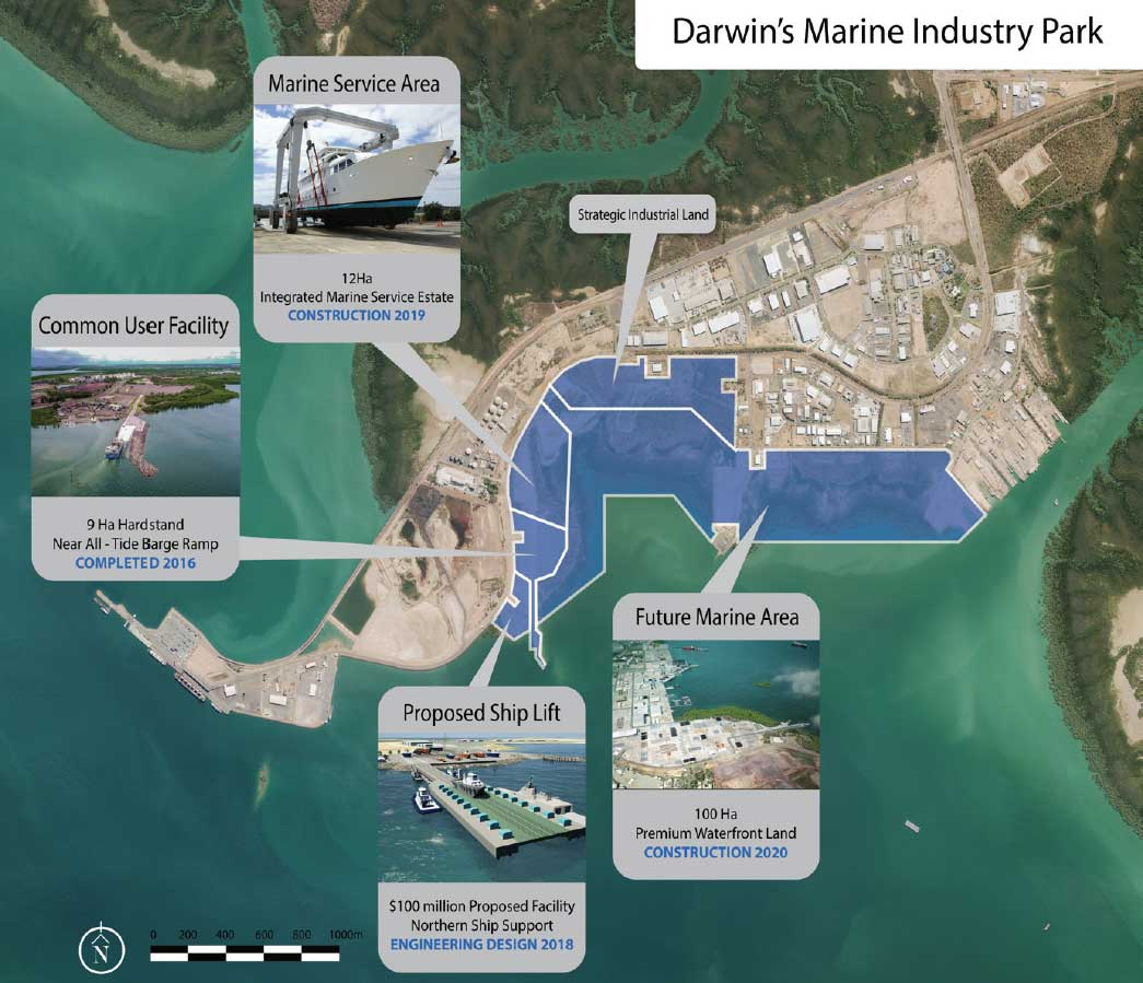 Aeriel view of Darwin's Marine Industry Park showing relationship with Marine Service Area, Common User Facility, Proposed Shift Lift and Future Marine Area.