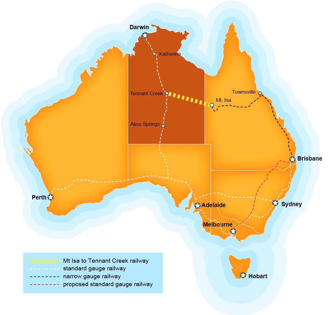 Map of Australia showing route of railway line