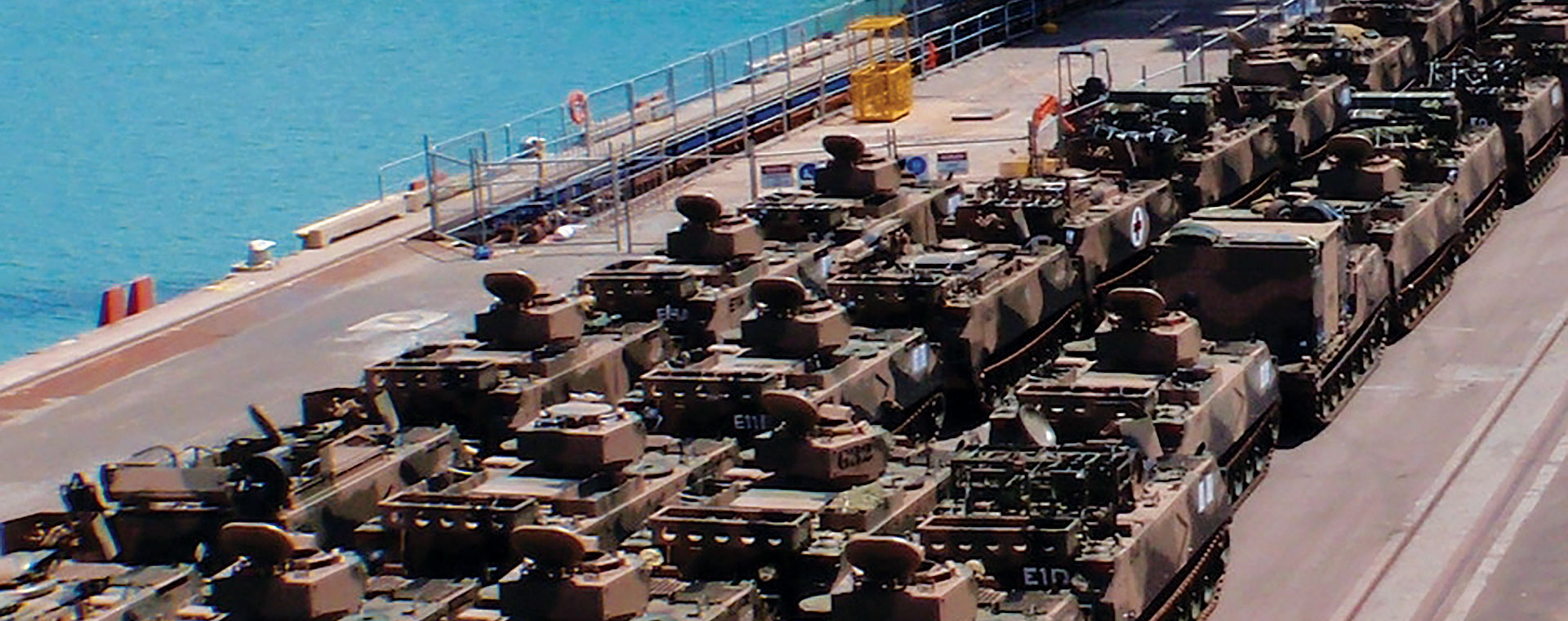 Army tanks on the wharf