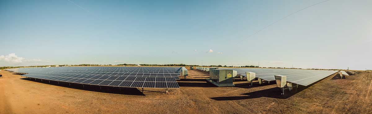 Paddock with bank of solar panels